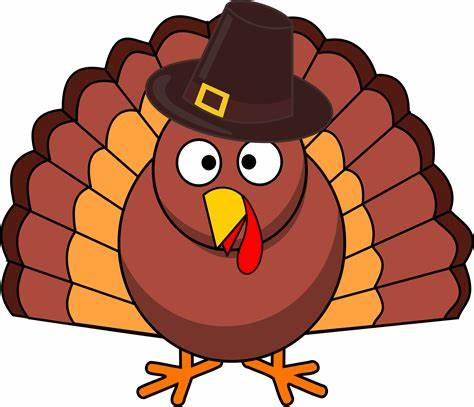 A cartoony turkey in a pilgrim style hat